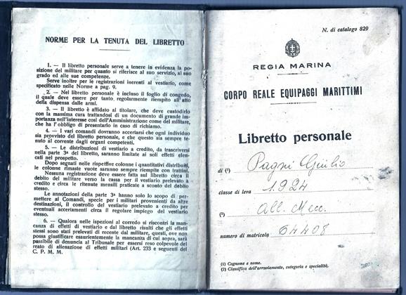 Libretto personale del marinaio Giulio Pagni (p.g.c. Sergio Pagni a www.lavocedelmarinaio.com)