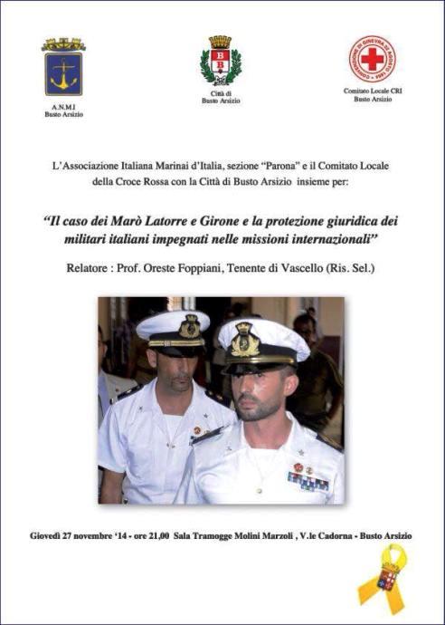 27.11.2014 a Busto Arsizioil caso Marò - www.lavocedelmarinaio.com