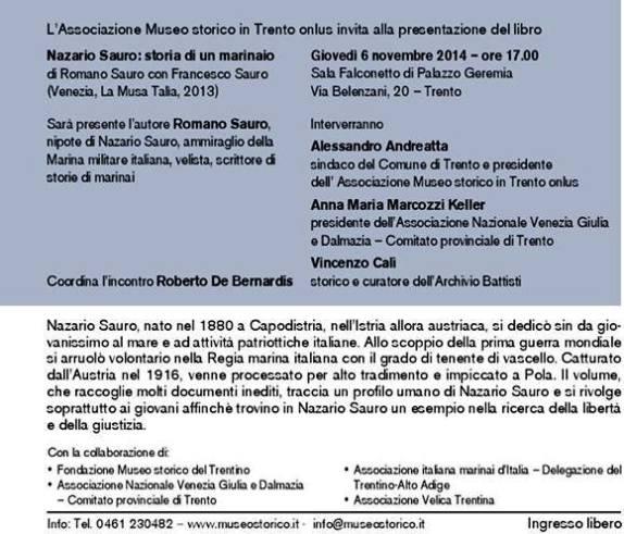 6.11.2014 a Trento presentazione del libro Nazario Sauro Storia di un marinaio - www.lavocedelmarinaio.com