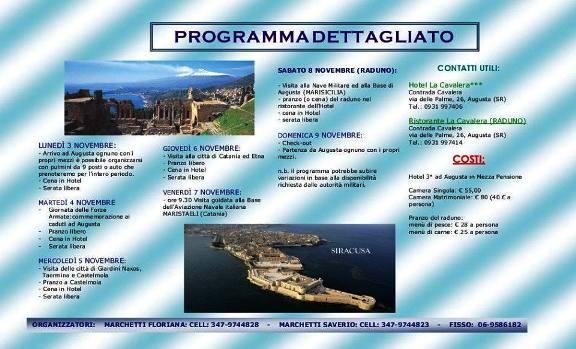 programma dettagliato raduno equipaggi  altair, aldebaran e andromeda ad Augusta 3-9.11.2014 - www.lavocedelmarinaio.com
