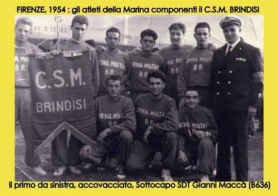 Firenze 1954 campionati militari c.s.m. Brindisi (f.p.g.c. Gianni Maccà a www.lavocedelmarinai.com)