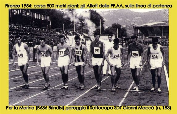 Firenze 1954 campionati militari corsa 800 metri (f.p.g.c. Gianni Maccà a www.lavocedelmarinaio.com