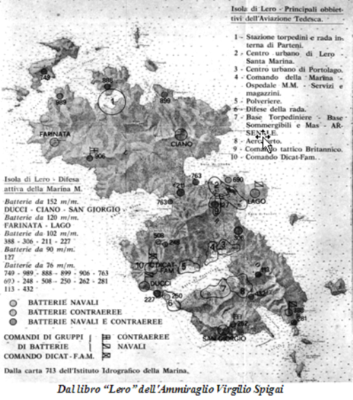 L'isola di Lero - Principali obiettivi dell'aviazione tedesca tratta dal libro Lero dell'ammiraglio Virgilio Spigai - copia - www.lavocedelmarinaio.com