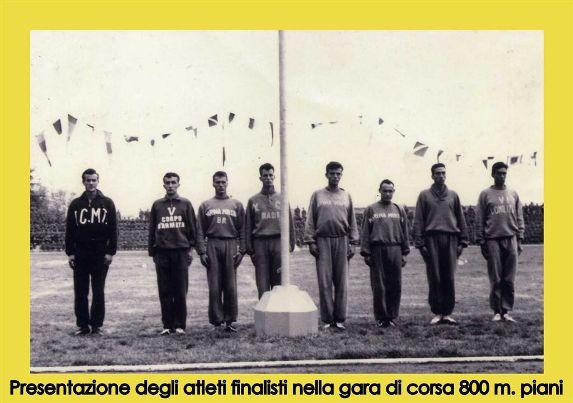 Presentazione atleti finalisti campionati militari Firenze 1954 (f.p.g.c. Gianni  Maccà a www.lavocedelmarinaio.com)