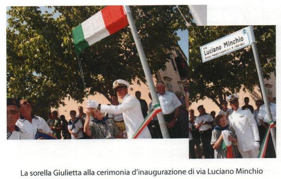 Intitolazione via Luciano Minchio a S. Stefano di Zimella (VR) foto tratta dal libro De Maris Profundis di L. Longo-L.Crestan p.g.c. a www.lavocedelmarinaio.com)