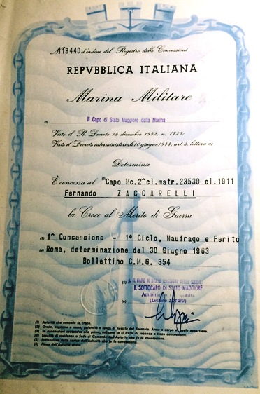 diploma 1^ concessione rilasciato al marinaio Fernando Zaccarelli  f.p.g.c. Giuseppe Zaccarelli