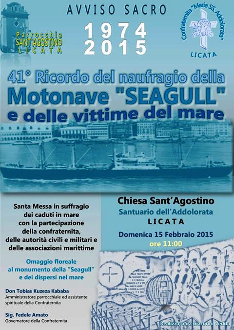 15.2.2015 a Licata in ricordo della motonave Seagull e delle vittime del mare - www.lavcocedelmarinaio.com