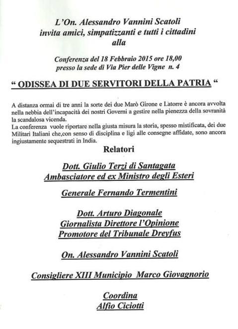 18.2.2015 a Roma Odissea di due Marinai Massimiliano Latorre e Salvatore Girone  - www.lavocedelmarinaio.com