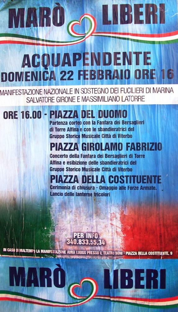 22.2.2015 ad Acquapendente (VT) Corteo marò liberi - www.lavocedelmarinaio.com