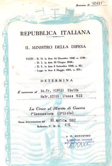 Croce al merito di guerra tribetata a Ubaldo Mattei - www.lavocedelmarinaio.com