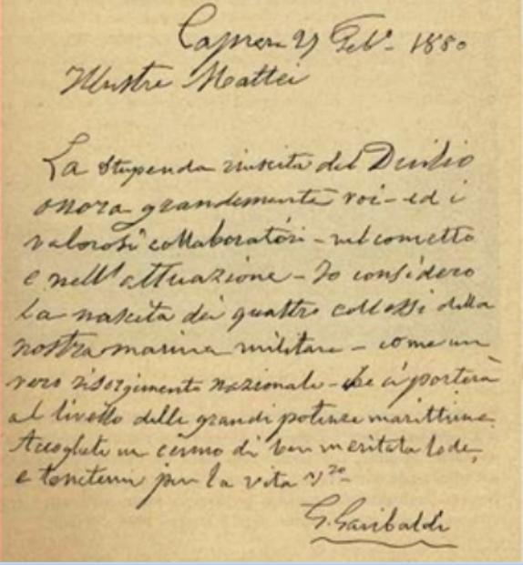 Lettera di Garibaldi ai Cantieri di Castellammare di Stabia - www.lavocedelmarinaio.com