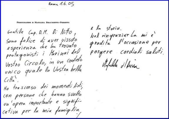 Lettera di ringraziameto di Mafalda d'Assia di  Savoia (p.g.c. Carlo Di nitto a www.lavocedelmarinaio.com)