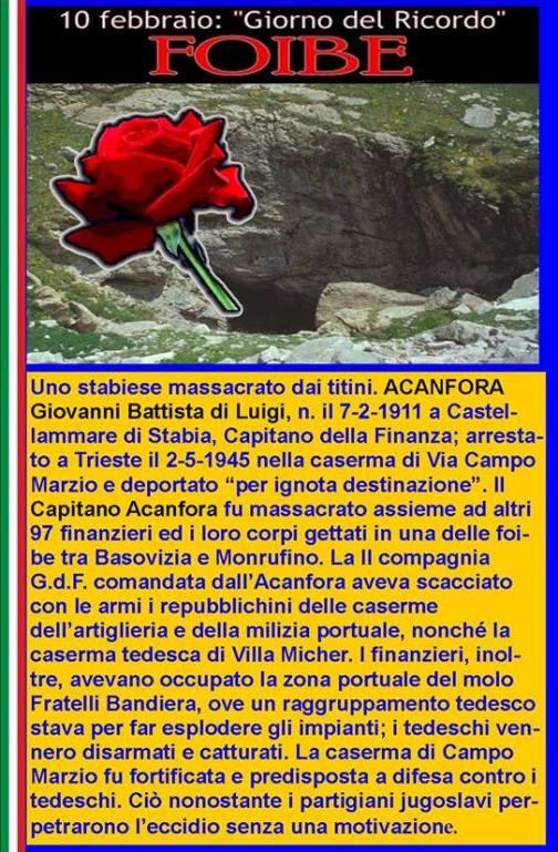 foibe - Acanfora Giovanni Battista  www.lavocedelmarinaio.com