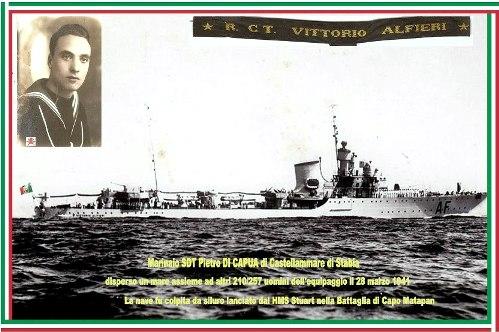 28.3.1941 marinaio Pietro Di Capua e regia nave Alfieri affondata a Capo Matapan - www.lavocedelmarinaio.com