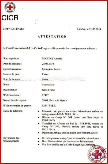 Attestato della C.R.I. ad Antonio Miccoli f.p.g.c. Marino Miccoli a www.lavocedelmarinaio.com