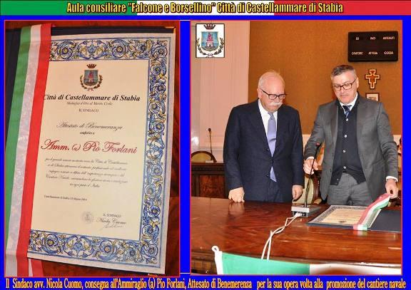 Attestato di benemerenza a Pio Forlani - www.lavocedelmarinaio.com