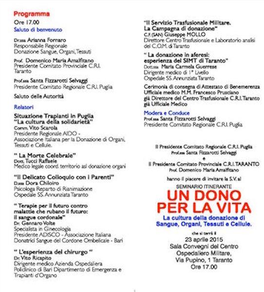 23.4.2015 a Taranto un dono per la vita - www.lavocedelmarinaio.com