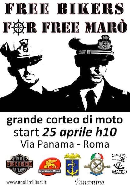 25.4.2015 a Roma Free biker for free marò - www.lavocedelmarinaio.com