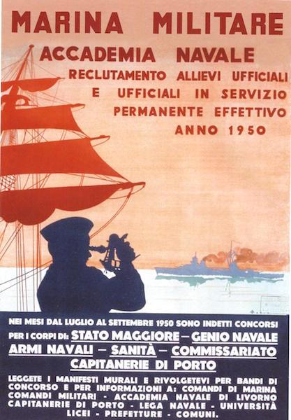 Manifesto di propaganda per arruolamento ufficiali accademia navale di Livorno 1950 - www.lavocedelmarinaio.com