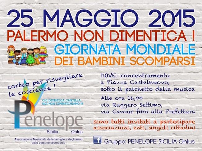 25 maggio 2015 a Palermo giornata mondiale per i bambini scomparsi . www.lavocedelmarinaio.com