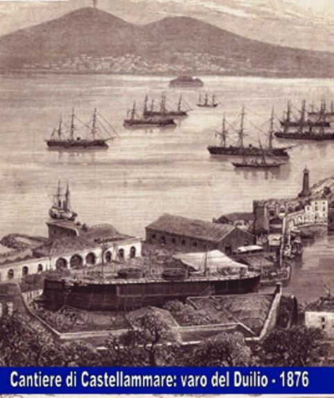Cantiere di Castellammae di Stabia (1876) stampa per il varo della regia nave Caio Duilio - www.lavocedelmarinaio.com