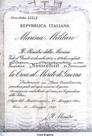 Luciano Minchio croce al merito di guerra (foto tratta dal libro De Maris Profundis di L.Longo-L.Crestam p.g.c. a www.lavocedelmarinaio.com)
