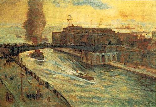 Ponte sul canale navigabile a Tranto 1940 Anselmo Bucci (olio su tela) copia