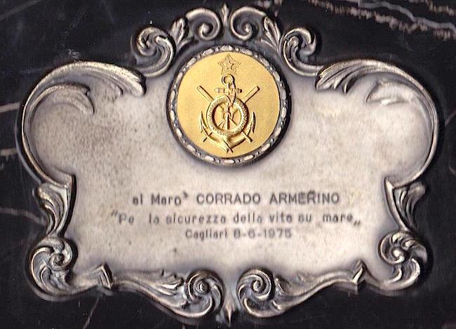 riconoscimento a Corrado Armerino per il salvataggio