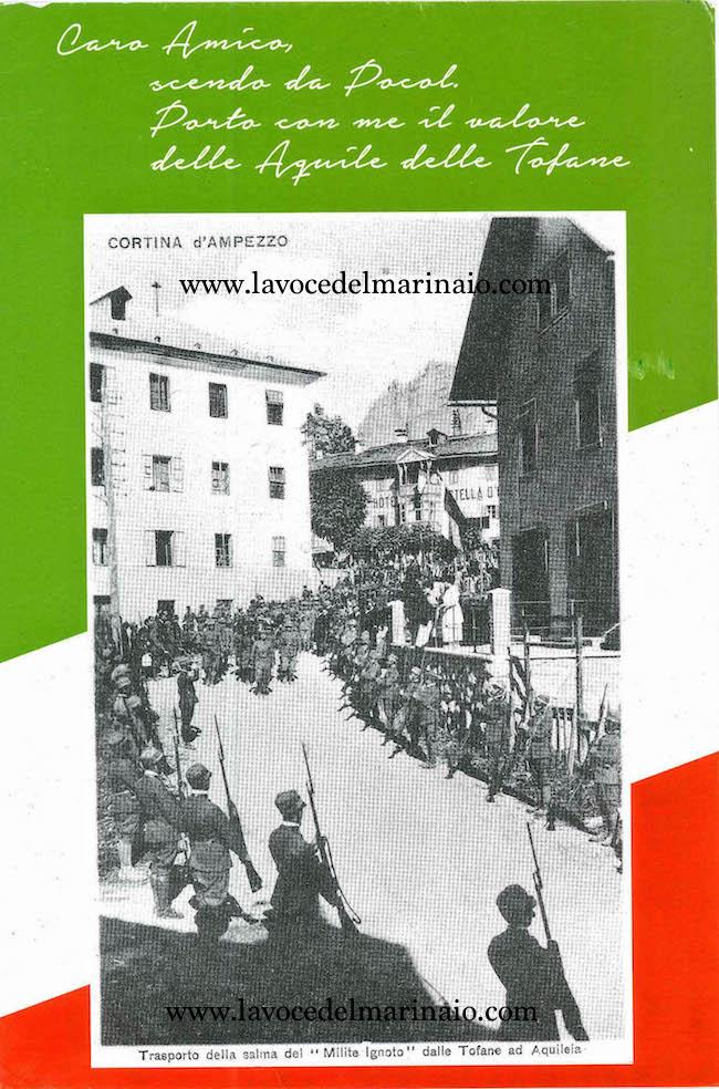 trasporto della salma del Milite Ignoto dalle Tofane di Aquileia - www.lavocedelmarinaio.com
