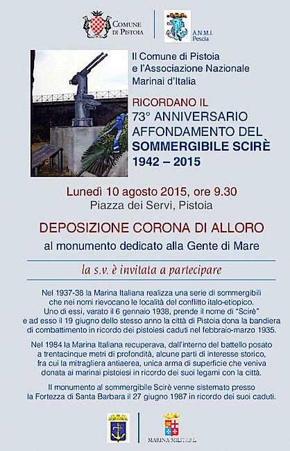 10.10.2015 a Pistoia deposizione corona d'alloro per vittime sommergibile Scirè - www.lavocedelmarinaio.com