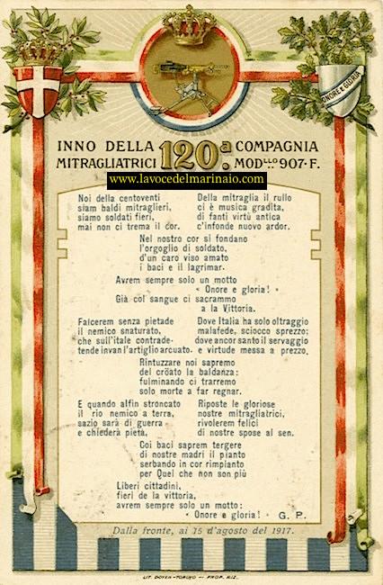15.8.1917 inno della 120^ compagnia mitragliatrici - www.lavocedelmarinaio.com