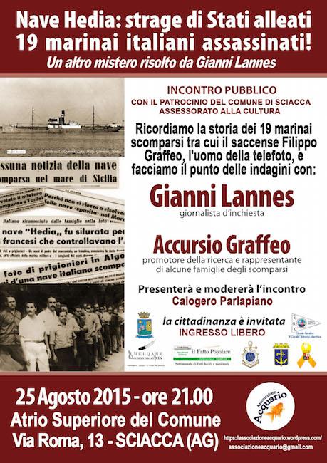 25.8.2015 a Sciacca incontro conferenza per vittime nave Hedia (manifesto) - www.lavocedelmarinaio.com