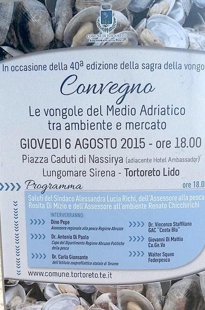 6.8.2015 a Tortoreto lido convegno  su vongole - www.lavocedelmarinaio.com