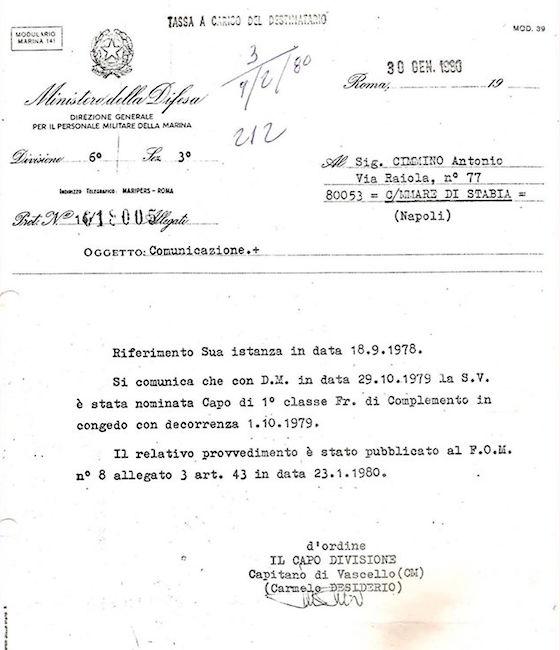 Dispaccio di avvenuta promozione a Capo di 1^ classe furiere di complemento ad Antonio Cimmino