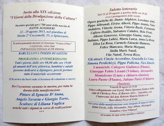 Programma di massima della kermesse i giorni della divulgazione a Barcellona Pozzo di Gotto - www.lavocedelmarinaio.com