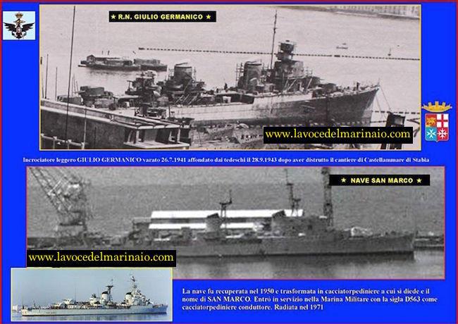 28.9.1943 varo del regio incrociatore Giulio Germanico - www.lavocedelmarinaio.com