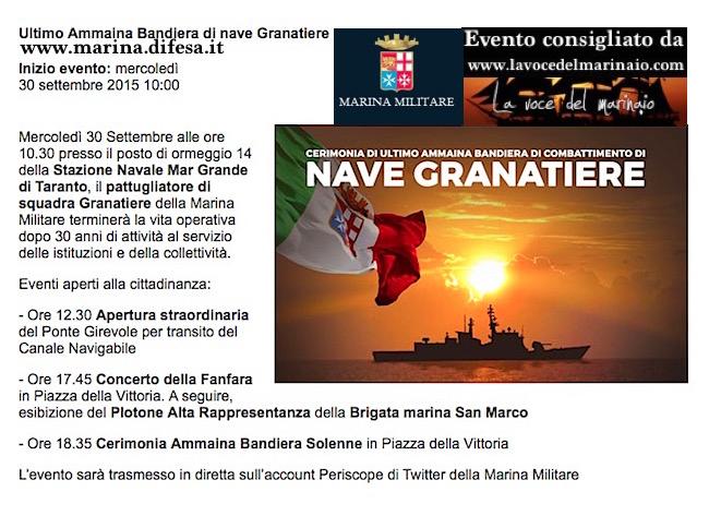 30-9-2015 ultimo ammaina nave Granatiere - www.lavocedelmarinaio.com