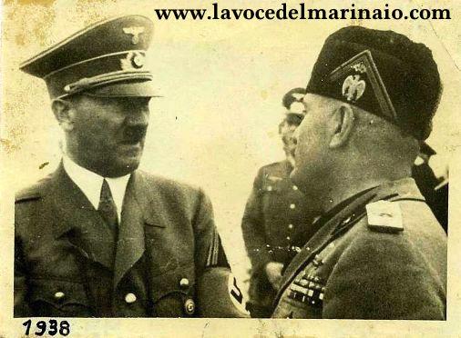 Adof Hitler e Benito Mussolini (1938) f.p.g.c. a www.lavocedelmarinaio.com da parte collezione Marino Miccoli