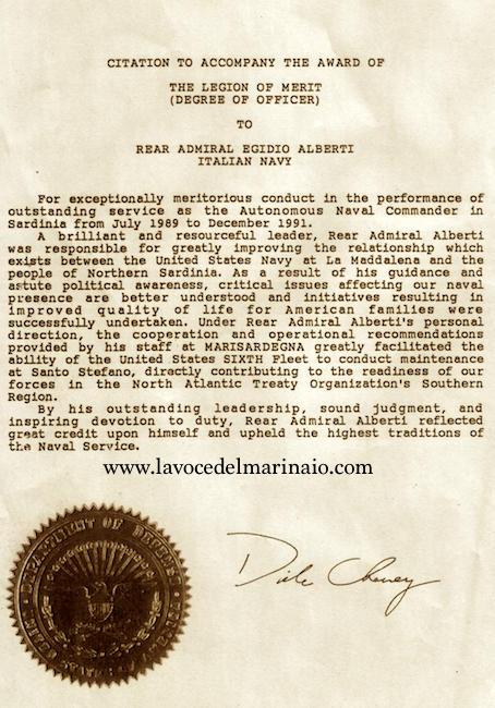 Motivazione legion of merit di Dick Chaney all'ammiraglio Egidio Aberti - www.lavocedelmarinaio.com