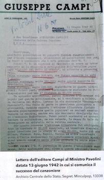 lettera dell'editore Ciampi al ministro Pavolini (13-6-1942) - www.lavocedelmarinaio.com
