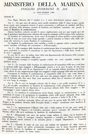 11.11.1904 Istituzione della bandiera di combattimento - F.O. 316 del 11.11.1904 - www.lavocedelmarinaio.com