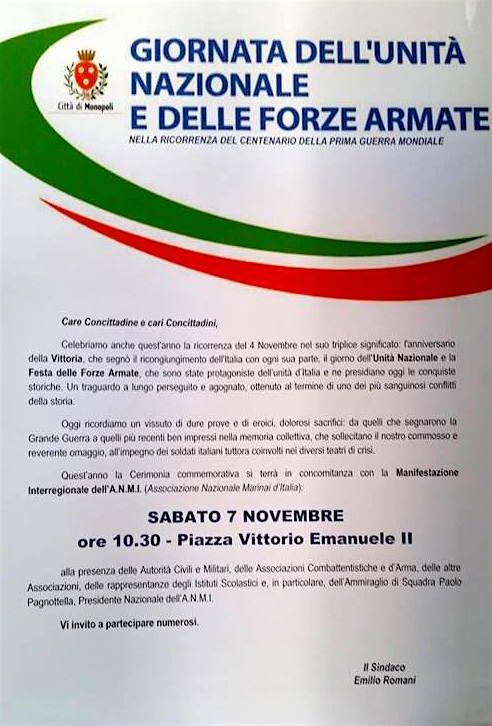 7.11.2015 a Monopoli Festa dell'unità nazionale - www.lavocedelmarinaio.com