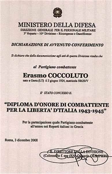Diploma d'onore di combattente concesso dal Ministero Difesa ad Erasmo Coccoluto - www.lavocedelmarinaio.com