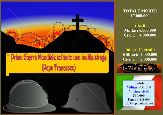Prima Guerra Mondiale soltantoun inutile strage (Papa Francesco) - www.lavocedelmarinaio.com