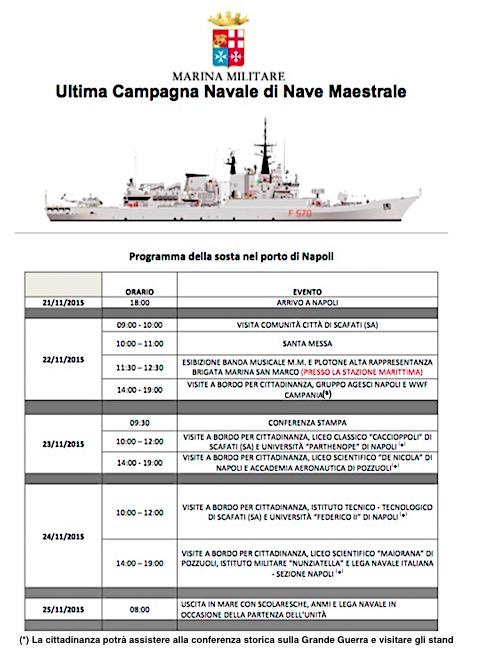 Programma nava maestra in sosta a Napoli - www.lavocedelmarinaio.com