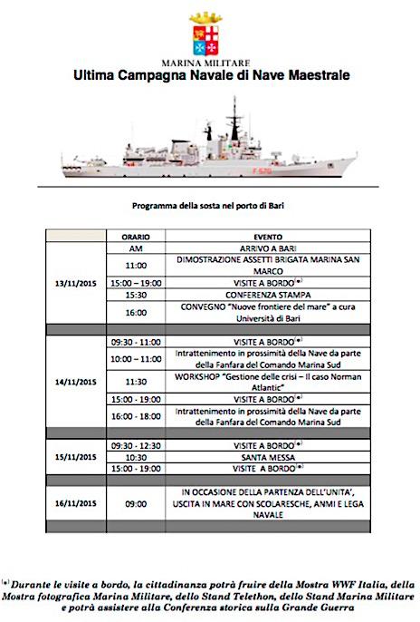 Programma visita in porto nave Maestrale a Bari 13-16.11.2015 - www.lavocedelmarinaio.com