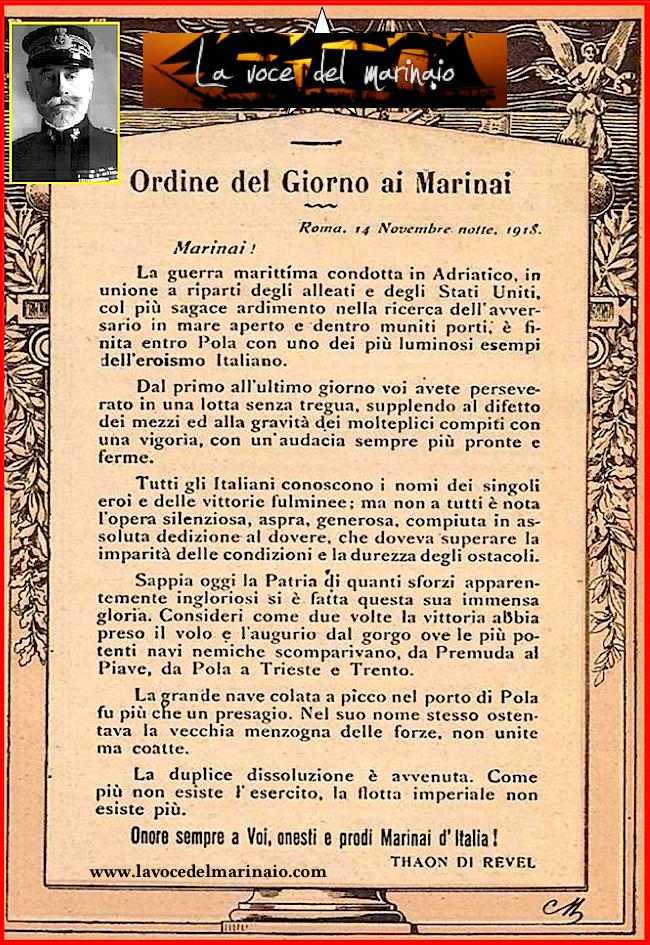 Tahon de Reve ordine del giorno ai marinai 4 novembre 1918 - www.lavocedelmarinaio.com - copia