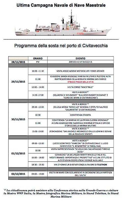 programma visita nave maestrale porto Civitavecchia - www.lavocedelmarianio.com