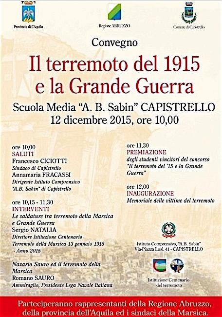 12.12.2015 a Capistrello il terremoto del 1915 e la Grande Guerra - www.lavocedelmarinaio.com
