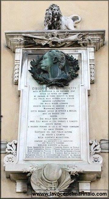 Monumento a Giuseppe Maria Giulietti a Pavia - www.lavocedelmarinaio.com